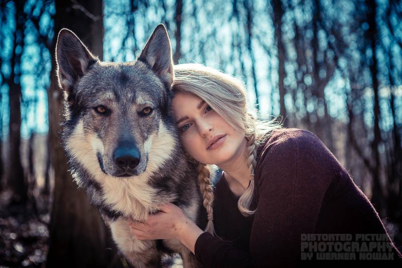 Wolfshund mit Model